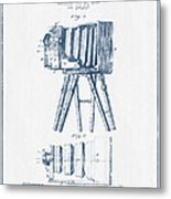 Photographic Camera Patent Drawing From 1885- Blue Ink Metal Print