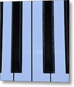 Piano Keys In Cyan Metal Print