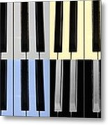 Piano Keys In Quad Colors Metal Print