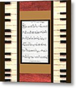 piano keys sheet music to Keep Of The Promise by Kristie Hubler Metal Print