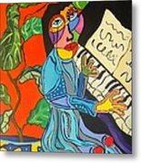 Piano Lady Metal Print