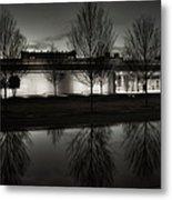 Piano Pavilion Bw Reflections Metal Print