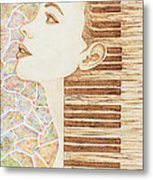 Piano Spirit Original Coffee And Watercolors Series Metal Print