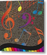 Piano Wavy Border With Colorful Keys And Music Note Metal Print