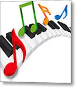 Piano Wavy Keyboard And Music Notes 3d Illustration Metal Print