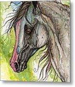 Piber Polish Arabian Horse Watercolor Painting 3 Metal Print