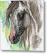 Piber Polish Arabian Horse Watercolor Painting Metal Print