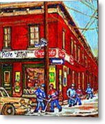 Piche's Grocery Store Bridge Street And Forfar Goosevillage Montreal Memories By Carole Spandau Metal Print