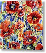 Picket Fence Poppies Metal Print