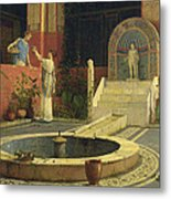 Picking Flowers From The Courtyard Metal Print
