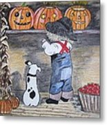 Picking Out The Halloween Pumpkin Metal Print