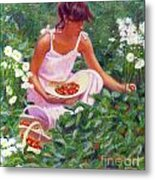 Picking Strawberries Metal Print
