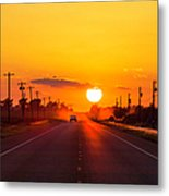 Pickup Truck At Sunset On West Texas Metal Print