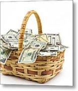 Picnic Basket Full Of Money Metal Print