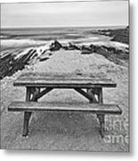 Picnic - Lone Table Overlooking The Ocean In Montana De Oro State Park In Caliornia Metal Print