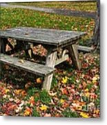 Picnic Table In Autumn Metal Print