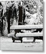 Picnic Table In The Snow Metal Print