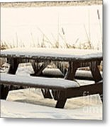 Picnic Table In Winter Metal Print