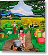 Picnic With The Farmers Metal Print
