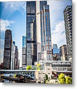 Picture Of Chicago Buildings With Willis-sears Tower Metal Print