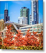 Picture Of Chicago In Autumn Metal Print by Paul Velgos