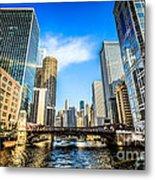 Picture Of Chicago River Skyline At Clark Street Bridge Metal Print