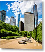 Picture Of Chicago Skyline With Millennium Park Trees Metal Print