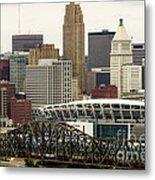 Picture Of Cincinnati Skyline Office Buildings  Metal Print by Paul Velgos