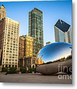 Picture Of Cloud Gate Bean And Chicago Skyline Metal Print by Paul Velgos