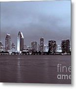 Picture Of San Diego Skyline At Night Metal Print by Paul Velgos