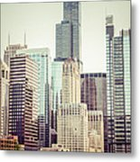 Picture Of Vintage Chicago With Sears Willis Tower Metal Print