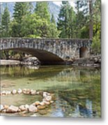 Picturesque Bridge In Yosemite Valley Metal Print