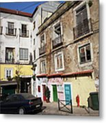 Picturesque Houses In Lisbon Metal Print