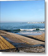 Pier And Beach By The Atlantic Ocean In Cascais Metal Print