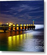 Pier At Night Metal Print by Carlos Caetano