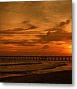 Pier At Sunset Metal Print by Sandy Keeton
