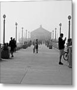 Pier Behind The Mist Metal Print