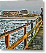 Pier Fishing 2 Metal Print
