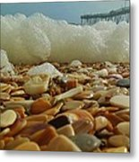 Pier Foam And Shells 5 10/13 Metal Print