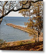Pier In The Fall Metal Print