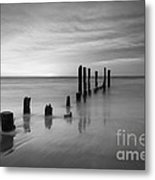 Pier Into The Past Black And White Metal Print