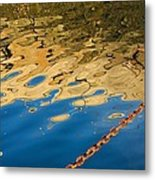 Pier Reflection And Rusty Chain Metal Print