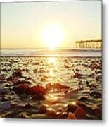 Pier Shells And Sunrise 15 10/2 Metal Print