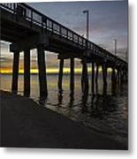 Pier Sunrise On A Cold January Morning Metal Print