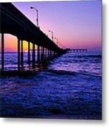 Pier Sunset Ocean Beach Metal Print