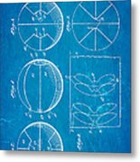 Pierce Basketball Patent Art 1929 Blueprint Metal Print by Ian Monk