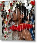 Pierced Hindu Devotee Wears Kavadi At Thaipusam Singapore Metal Print