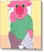 Pig On The Hopper Metal Print
