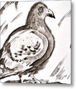 Pigeon II Sumi-e Style Metal Print