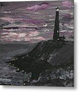 Pigeon Lighthouse Impasto Sunset Monochromatic Metal Print